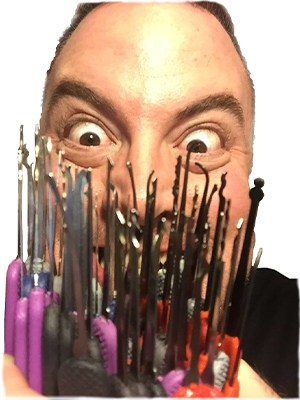 Crazy lock picking man with a lot of lock picks!