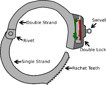 A standard pair of ratcheted handcuffs has seven main components.